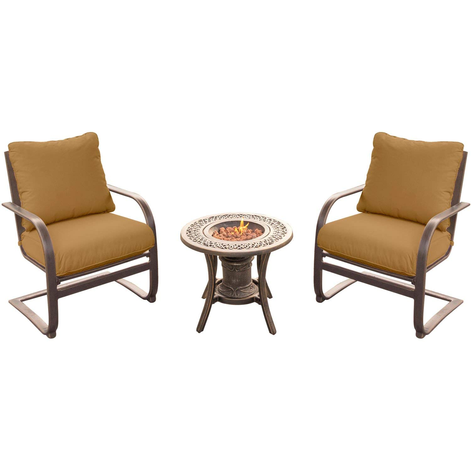 Hanover SUMRNGT3PCSP-URN Summer Nights Fire Pit Chat Set with Two C-Spring Chairs and A 10,000 BTU Fire Pit Side Table (3 Piece) (Pack of 3), Tan