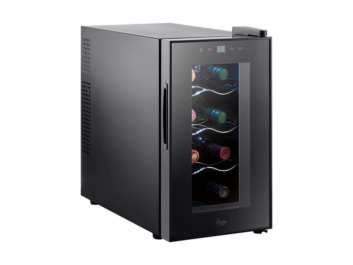 Monoprice 8 Bottle Thermoelectric Wine Cooler - Black With Interior LEDs, Easy-to-Use Controls, Thermoelectric Power - From Strata Home Collection