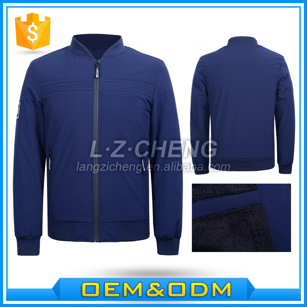 HX1-A16 Winter Royal Blue Men Polyester Bomber Fleece Lining Jackets
