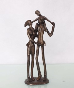 Home Decoration Human Statue Bronze Happy Family Abstract Figure Sculpture