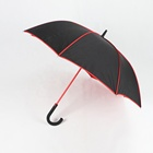 red and black double layer umbrella abaya with red seam and pole