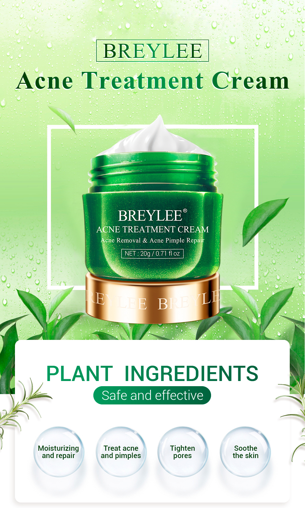 Breylee Tea Tree Acne Remove Pimples Herbal Treatment Cream For