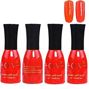 Tint 4PCS OV Red Bottle Soak-off UV Gel Set Top Coat+Base Gel+2 UV Color Builder Gel(No.11-12,15ml)