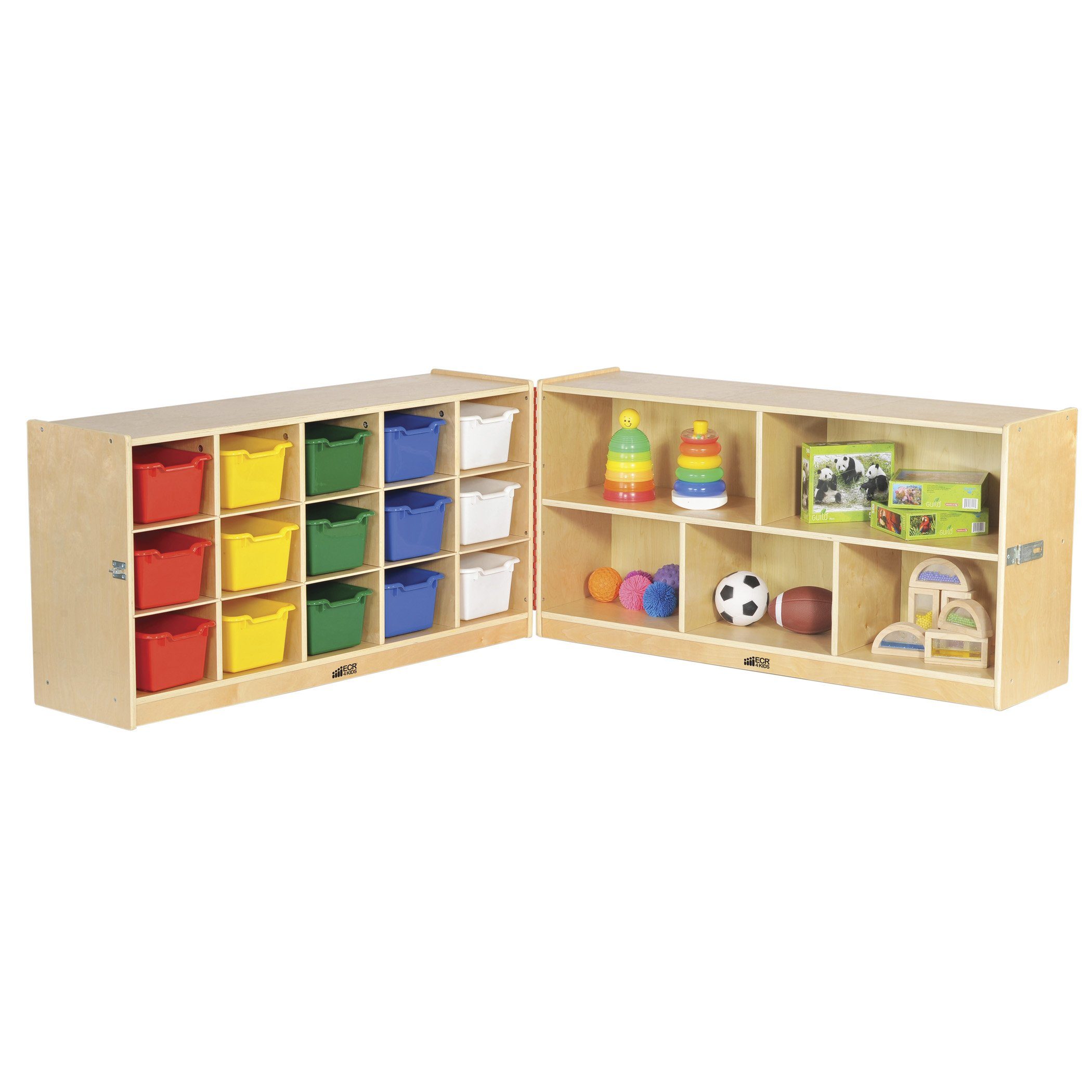 """ECR4Kids Birch Fold & Lock Storage Cabinet with 5 Cubbies/15 Trays, 15 Scoop Front Bins 24""""H, Assorted Colors"""