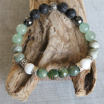 agate for stone making jewelry beads bracelet polish green moss dull necklace natrual round matte item