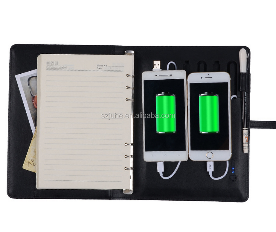 Wholesale pu spiral notebook documet folder leather notebook school notebook with USB
