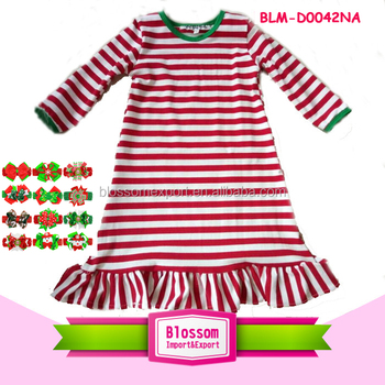 Wholesale Usa Christmas Red Stripe Green Neck Baby Boutique Dresses