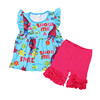 newest cosplay cartoonTrolls tunic top with ruffle short set,childrens boutique clothing sets