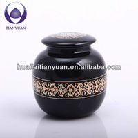 chinese style lead free borosilicate hand blown black glass tea jar tea tin tea caddy with lid
