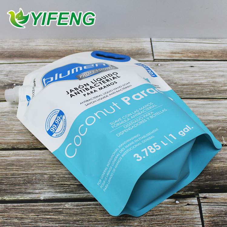 Printing Stand Up Customized Logo Laundry Detergent Liquid For Soap Shampoo Aluminium Bag With Spout