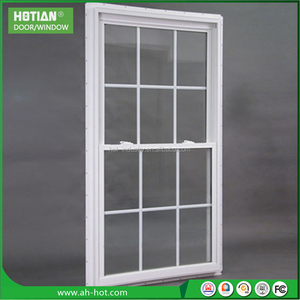 2016 Latest window grill design aluminium vertical sliding window double hung windows grid with house window film