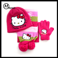 Morewin Brand custom hello kitty hat and fashion scarf