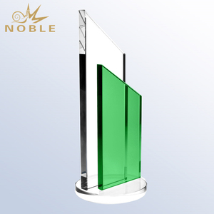 New Design Custom Blank Clear Crystal Award Trophy With Green Plaque