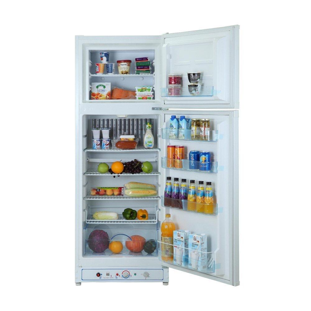 SMETA 7.5 cu ft LPG Top-Freezer Absorption Refrigerator Propane AC 110v/Gas Fridge Freezer,White