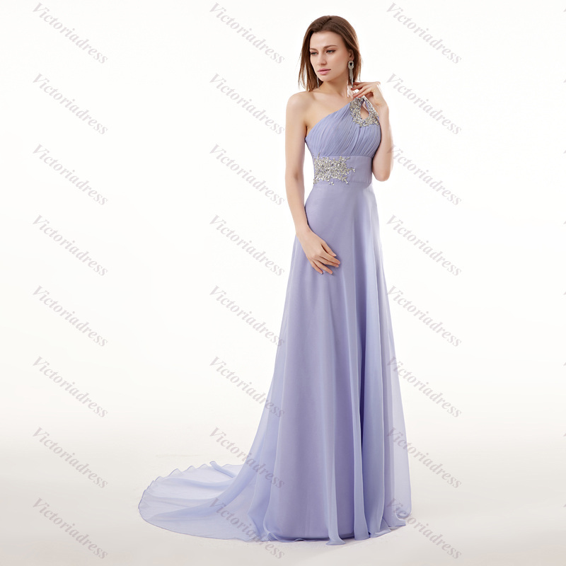 a84b8bf1c6969 Get Quotations · Custom Made One-Shoulder Sexy Backless Vestidos De Renda  Cheap Light Purple Chiffon Prom Dresses