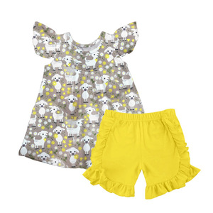 Toddler kids summer clothing sets baby girls sheep pattern boutique outfits