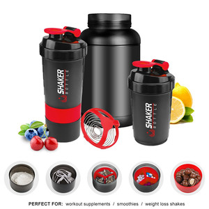 BPA Free Red Plastic 500ml 16oz Sports Protein Shaker Bottles with Filter