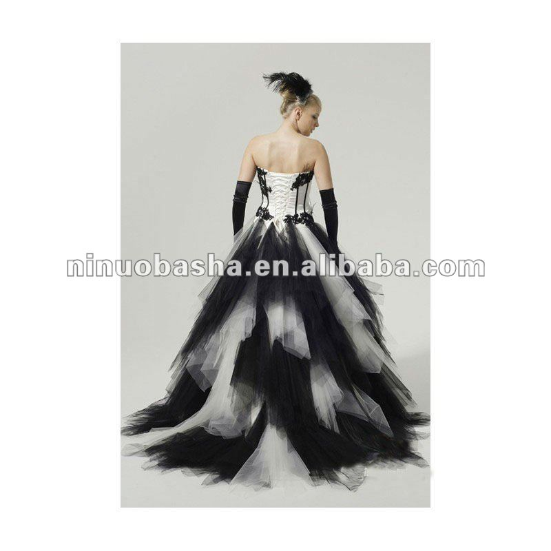 838300afe45 Ny-2577 Black And White Corset Ball Gown Tulle Wedding Dress - Buy ...