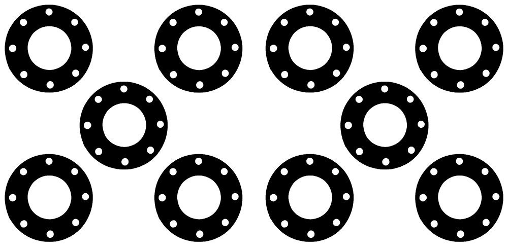 "Sterling Seal CFF7000.200.031.150 7000 Grafoil Full Face Gasket 2"" Pipe Size, 1/32"" Thick, Pressure Class 150#, 0.31"" Height, 4.12"" Length, Expanded Flexible Graphite, Black (Pack of 10)"