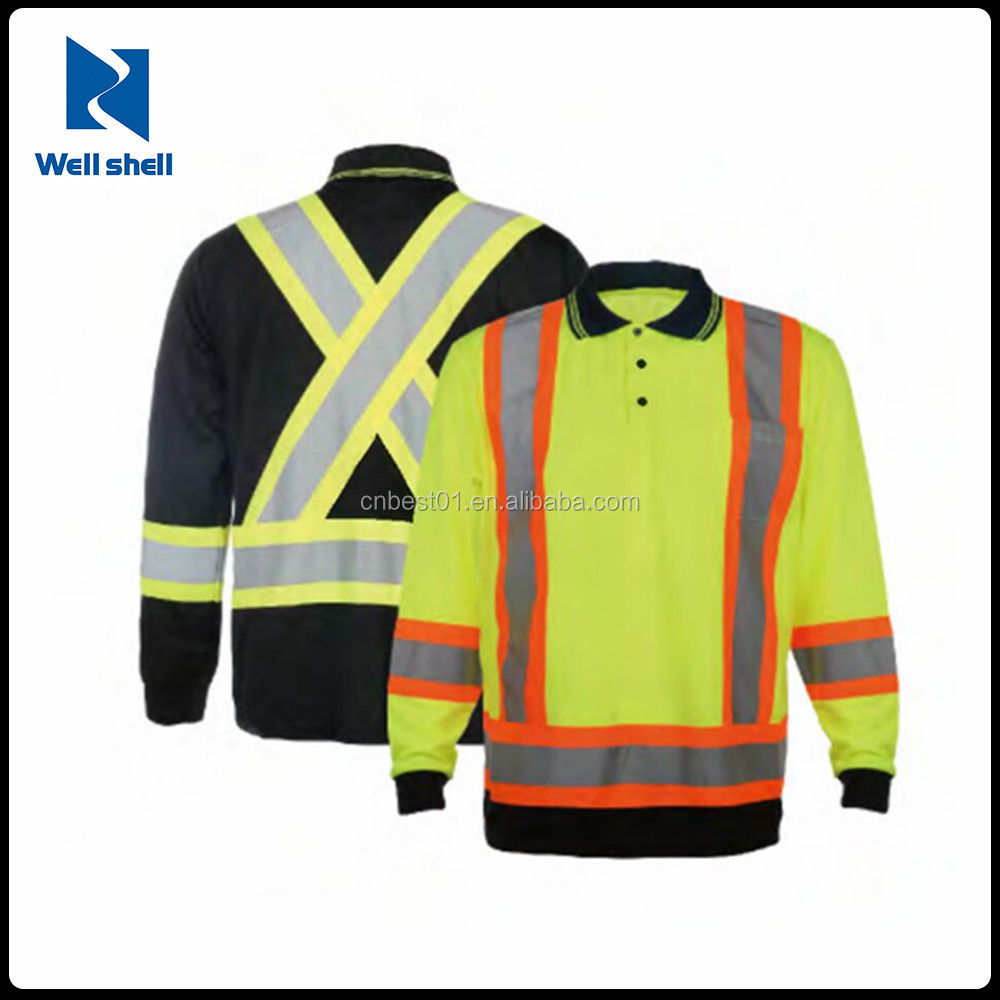 Hi Vis High Viz Visibility Long Sleeve Safety Work breathable button Polo Shirt Reflective long sleeve t shirt