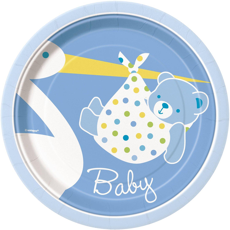 Blue Stork Boy Baby Shower Dessert Plates, 8ct