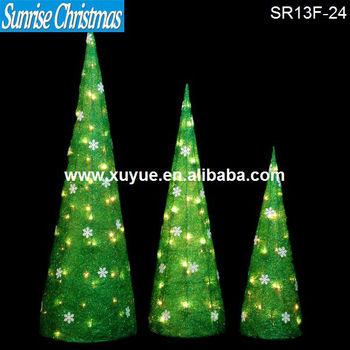 Christmas Decorations Christmas Sisal Cone Tree With Lights Set Of 3 (CE GS  UL)