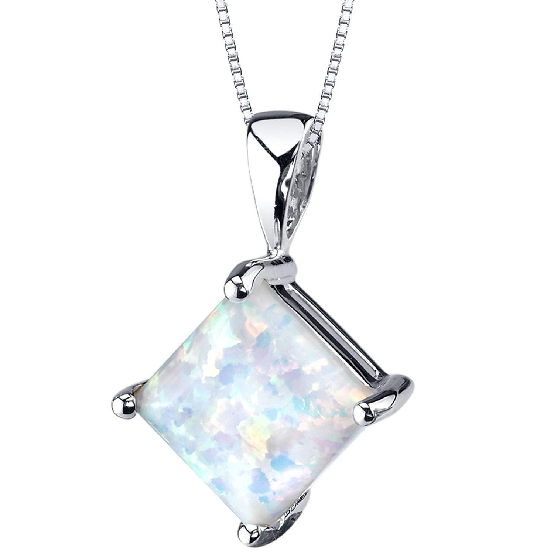 14 Karat White Gold Princess Cut Created Opal Pendant