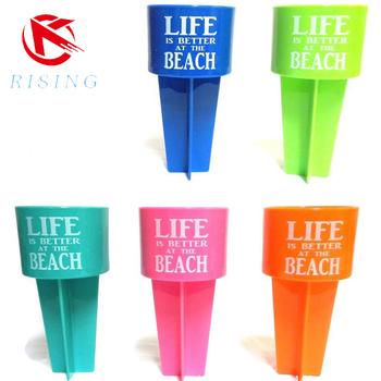 New Pack Of 4 Spiker Beach Sand Cup Coasterspikers Plastic Beach