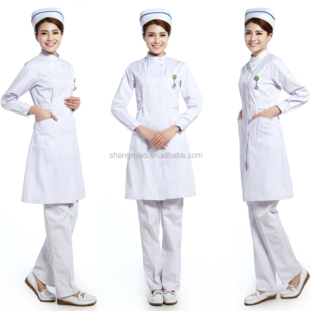 Fashion Dress Women Nurse Hospital Uniforms Designs, Medical Uniform With Nurse Cap
