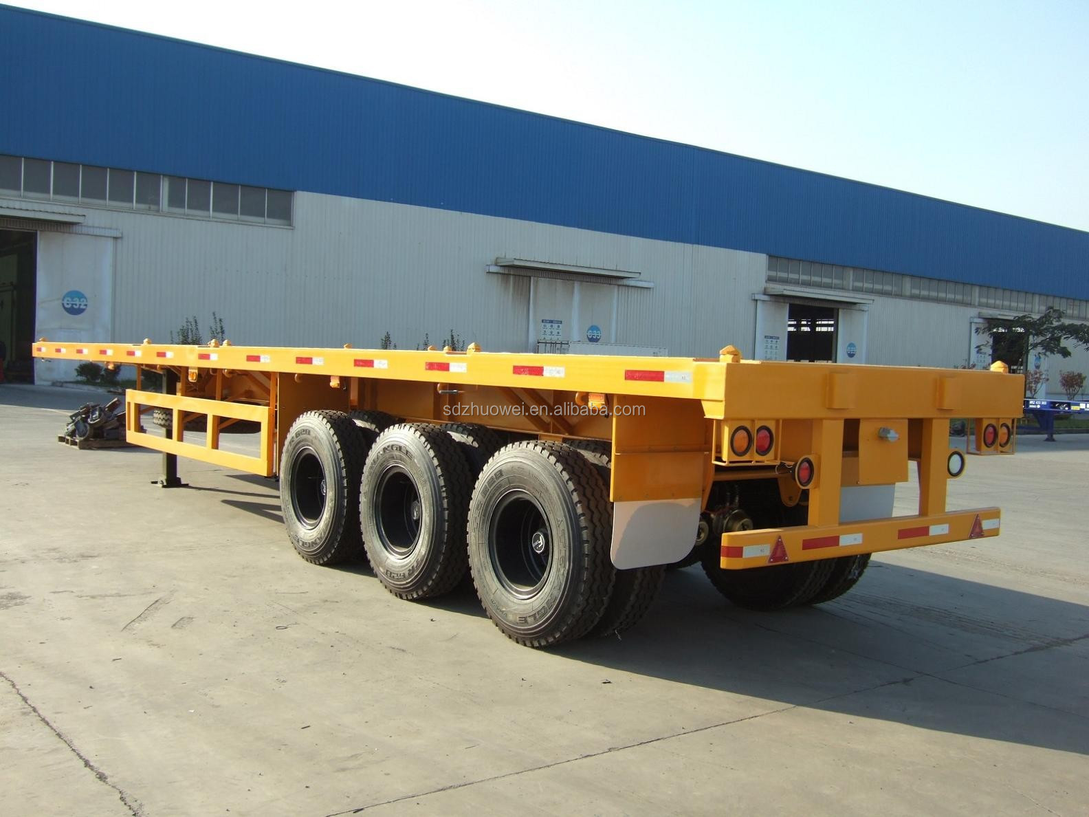 factory price new 40ft flatbed gooseneck container chassis semi trailer