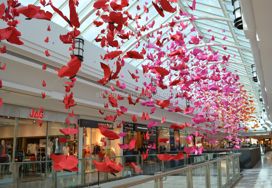 New design shopping mall butterfly atrium decoration buy for Atrium design and decoration