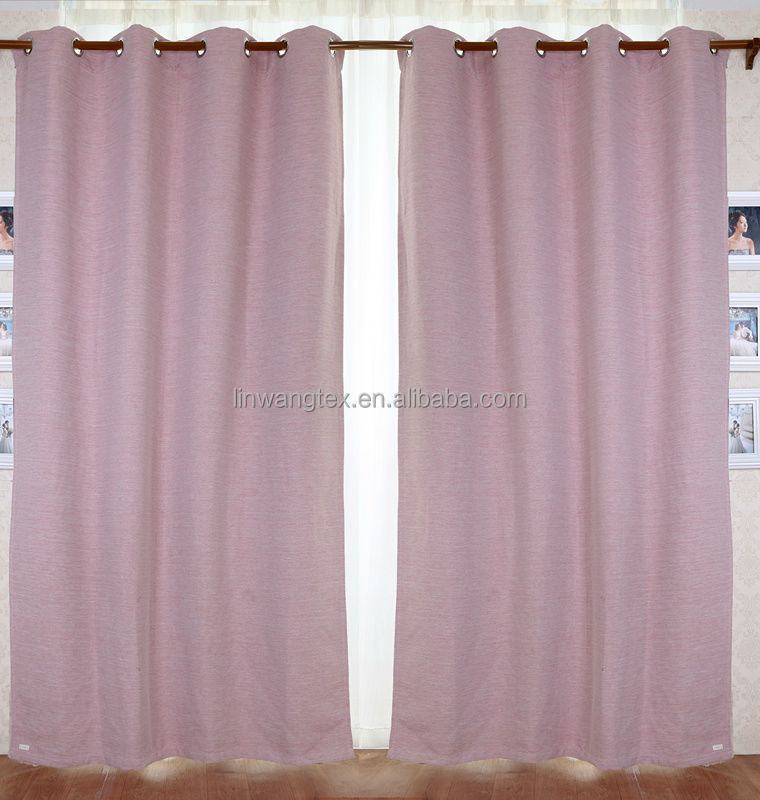 cheap 100% polyester linen like sun block curtain fabric for home and hotel