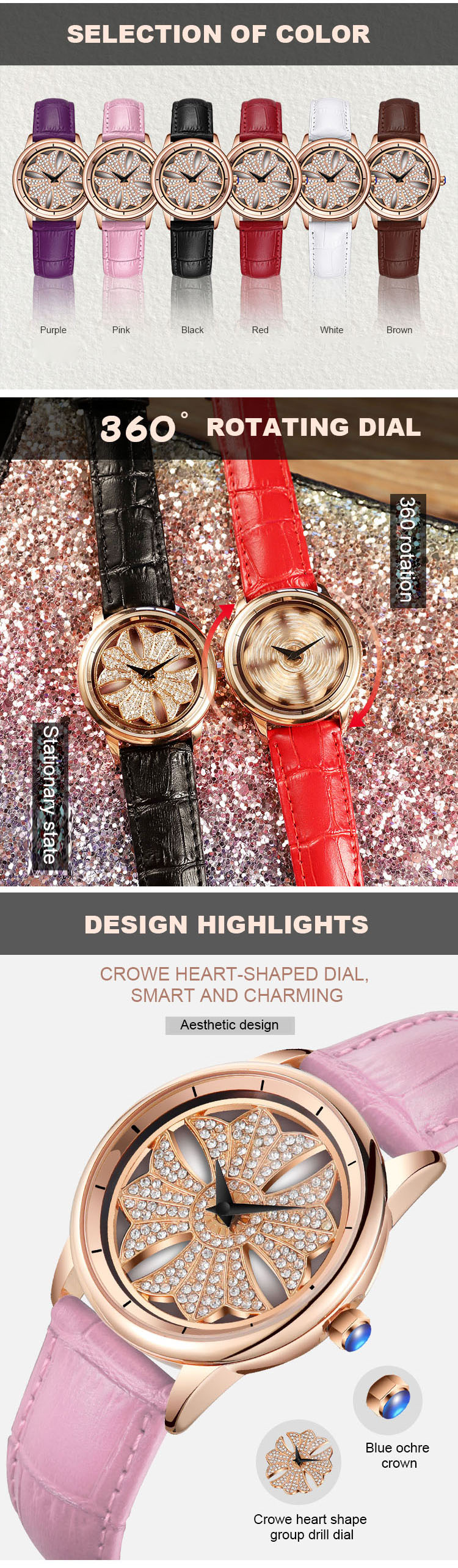 Women's Diamond Rotating Watches 2019 New Fashion Trend Genuine Leather Watch For Ladies Casual And Girls