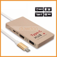 Multifunction 6 Ports USB 3.1 Type C HUB SD Card Reader U-disk 4K HDTV 0.5ft USB Data Cable for Macbook Pro Mac PC