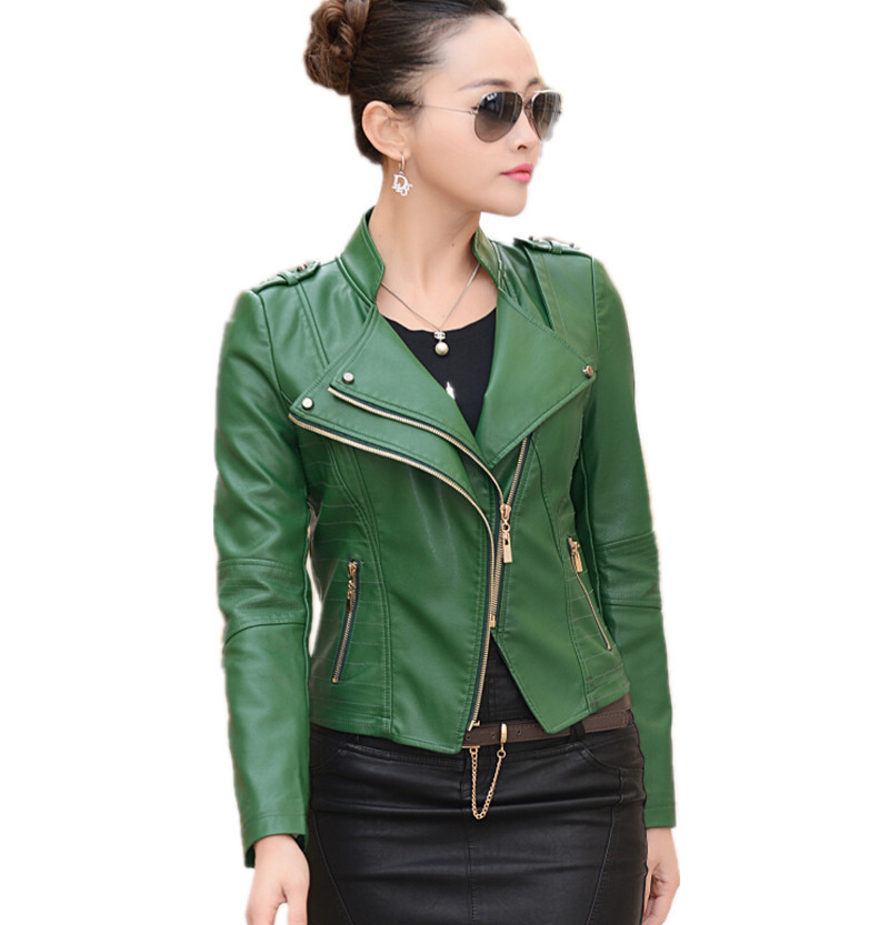 Free shipping women leather jacket 2015 Autumn PU motorcycle jacket women's leather coat women leather jacket plus size 4XL