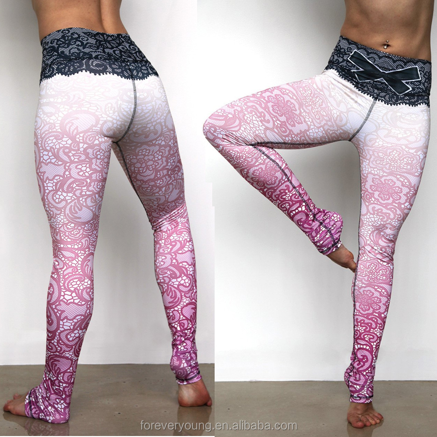 Custom Design Sports Wear Women Sexy Breathable Sublimation Fitness Yoga Leggings with Lace Waist