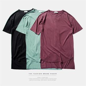 Oversized Men Elongated West T Shirt For Streetwear Hip Hop Men Fashion Soild color Cotton Tops