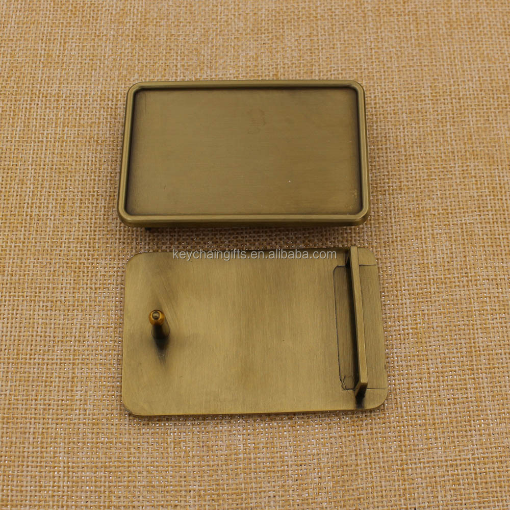 Plating antique bronze buckle metal with printing epoxy belt buckle