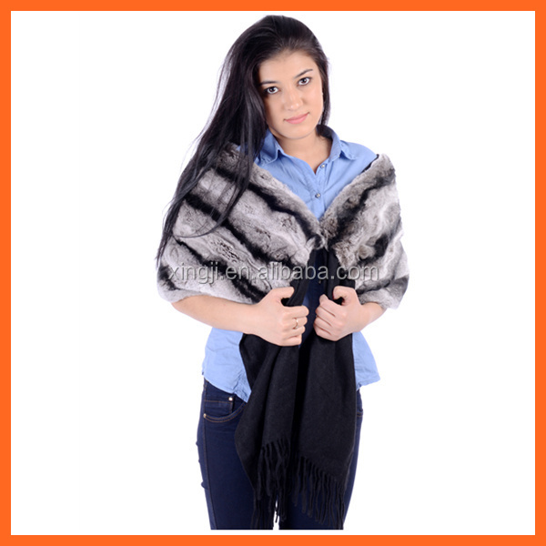 Luxury shawl cashmere with real rex rabbit fur shawl