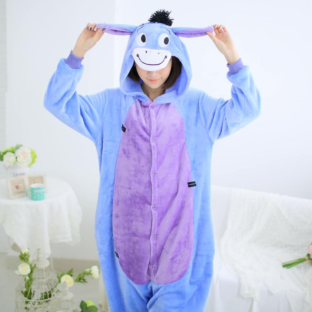 Flannel family animal pajamas one piece onsies onesies cosplay pijama burro donkey pigiama pyjama pijamas enteros