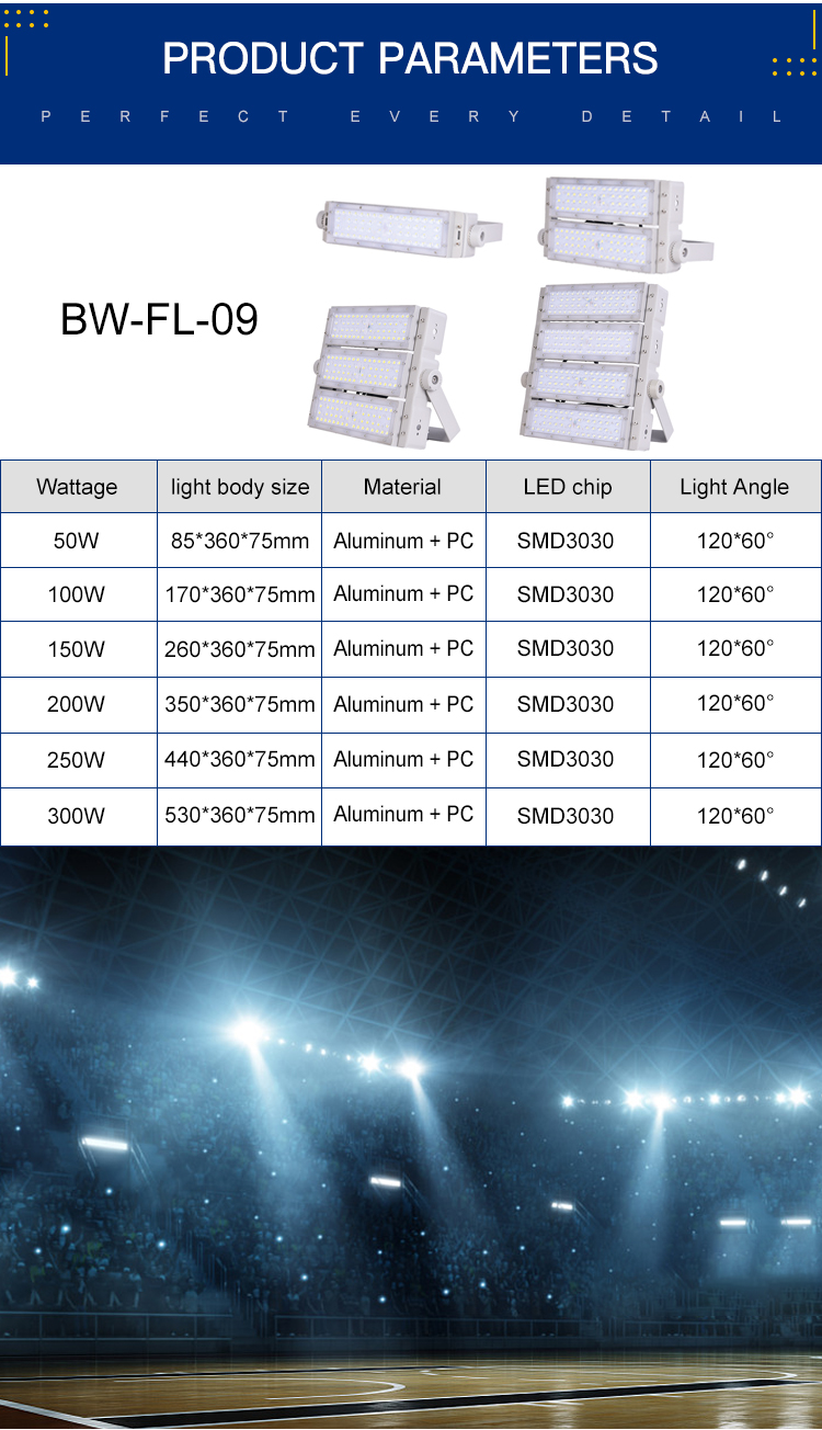 Hot Sale Daya Tinggi Bridgelux Tahan Air IP65 50 W 100 W 150 W 200 W 300 W LED Banjir Lampu