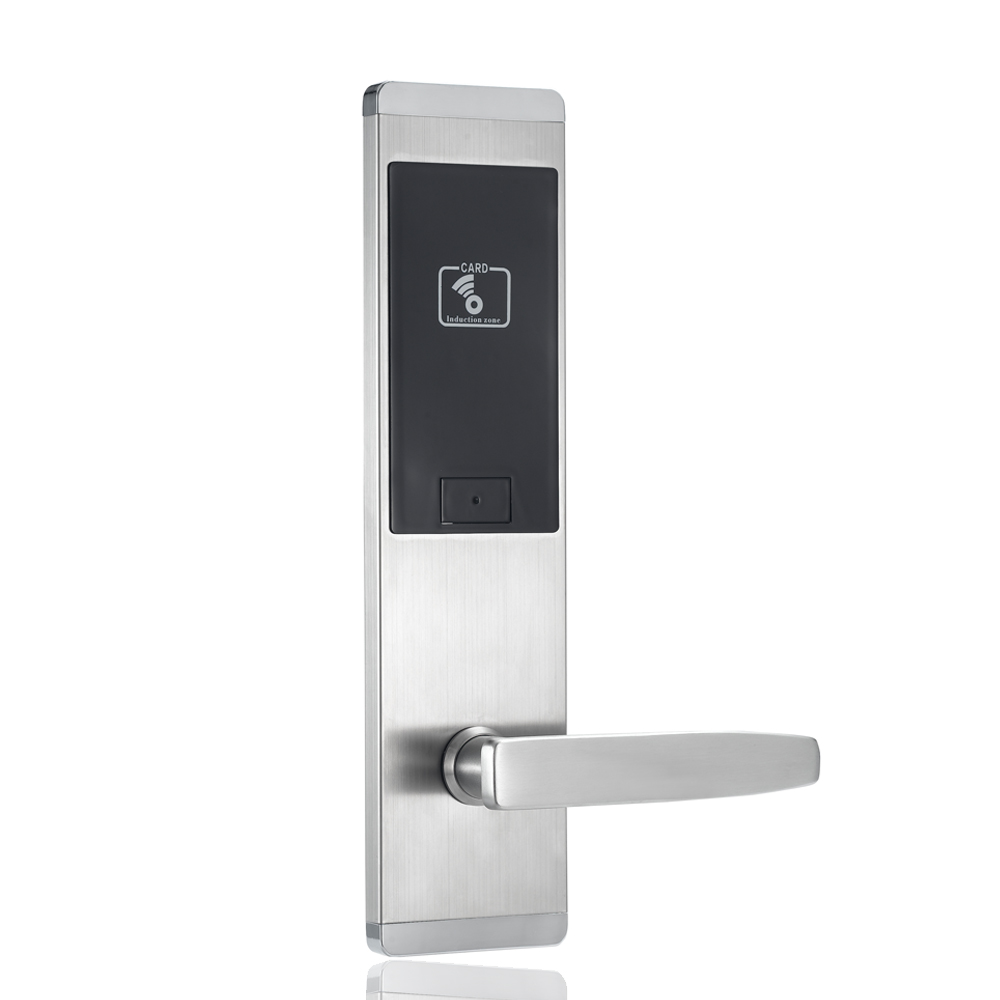 Silver Stainless steel security electronics RFID card hotel door lock system With Free software