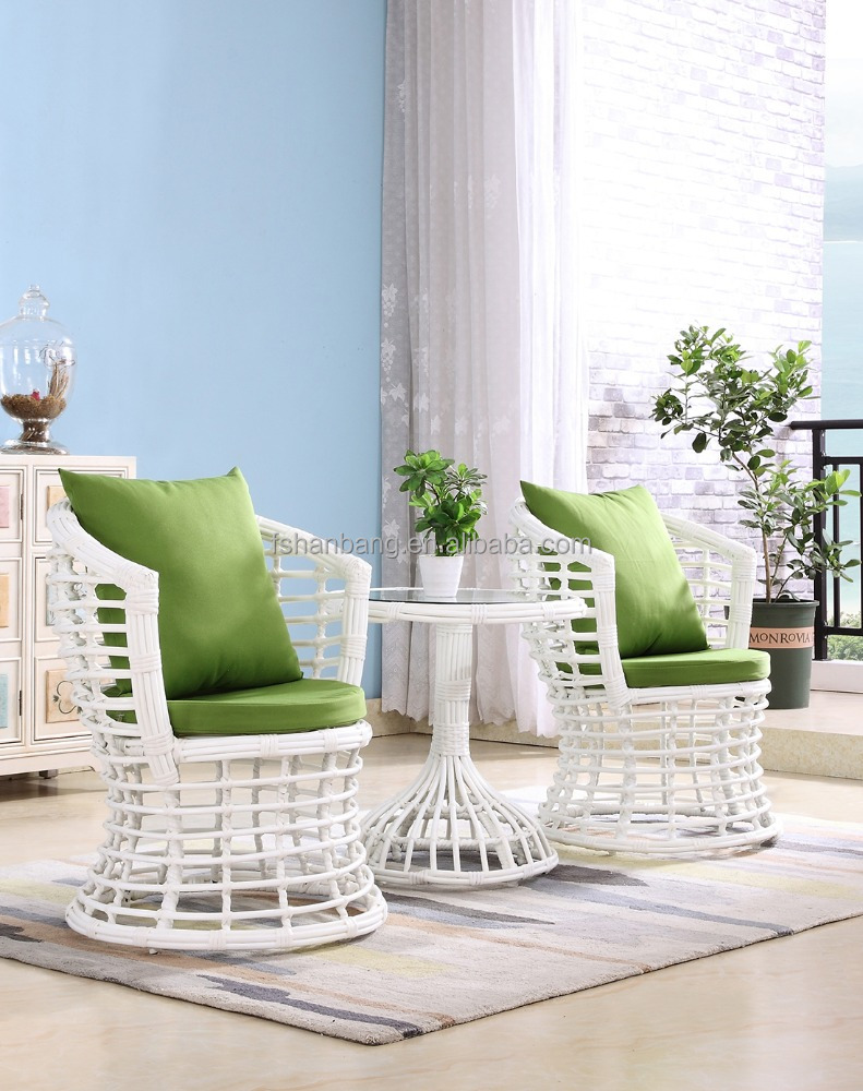 White Balcony Garden Rattan Tea Table and Chairs Set