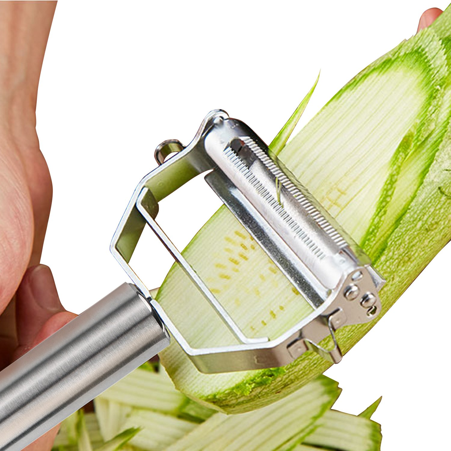 Professional Kitchen Stainless Steel Julienne Peeler With Brush