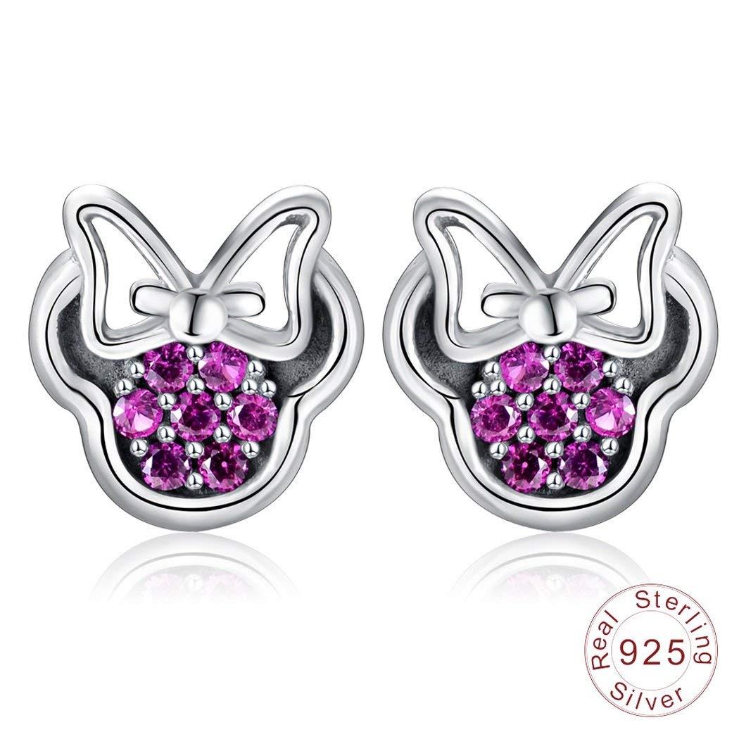 Jewelry & Watches Nice .925 Sterling Silver Purple Lavender Heart Earrings Cz Studs Love Prong Pierced