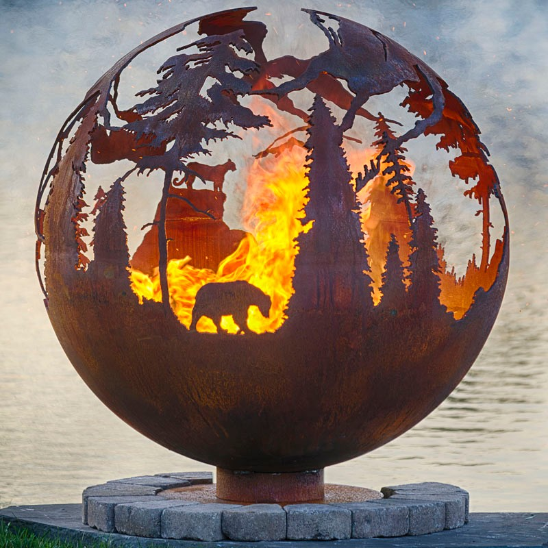 Metal Sphere Fire Pit Ball Iron Cast Outdoor Fire Pit