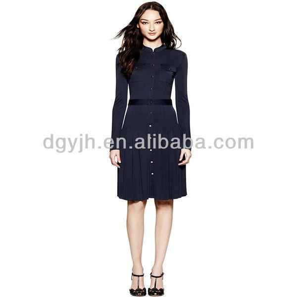 a873528110aa9 طراز جديد من السيدات كم طويل طول الركبة اللباس عادية الذكية  فساتين صور،  السيدات