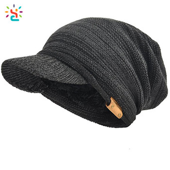 e109d8f375abb Classical Slouchy knit visor beanie fur lined fleece lined beanie hat women  leather patch custom logo