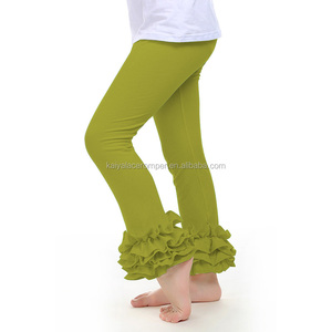 fashion solid color children wear tight leggings tripe ruffle baby pants fall autumn icing baby leggings