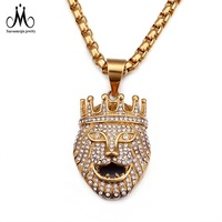 Wholesale Charm Luxurious Jewelry 18K Gold 316L Stainless Steel Hiphop Lion King Pendant